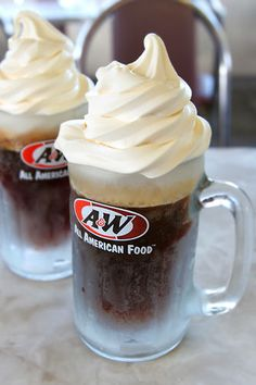 A Root Beer floats in frosty mugs!