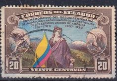 Ecuador postage stamp with a flag on it. 1939.