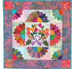 "Bali Bouquet mini quilt, 24 x 24"", by Virginia Robertson Designs"