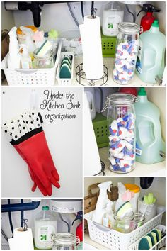 How to organizing under the kitchen sink for less than $15. It could be even cheaper if you use things from around your house! - Ask Anna