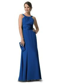 This long chiffon and charmeuse combination dress is a flattering look for all body types. The high neck is a sophisticated look that pairs nicely with the length of the dress. Dress this up with bold jewelry.