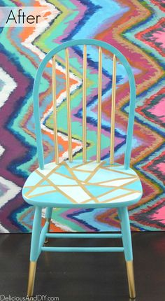 Chair Makeover- Using Only Masking Tape Wooden Chair Makeover - Delicious And DIY MoreWooden Chair Makeover - Delicious And DIY . Wooden Chair Makeover, Furniture Makeover, Kitchen Chair Makeover, Painted Wood Chairs, Painted Furniture, Chalk Paint Chairs, Wooden Chairs, Furniture Projects, Diy Furniture