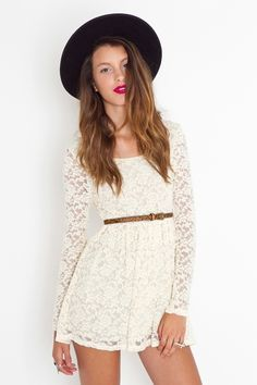 White lace dress...would be cute with tan boots for a winter to spring look