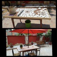 Tavolo per esterno in pietra leccese + dondolo con doghe in legno