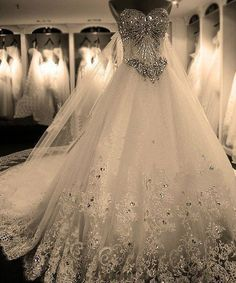 Rhinestone wedding dress