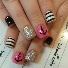 Instagram photo by botanicnails  #nail #nails #nailart (instead of pink, do teal, dark purple or lime green)