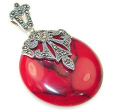 $49.85 Beautiful Red Coral Sterling Silver pendant at www.SilverRushStyle.com #pendant #handmade #jewelry #silver #coral