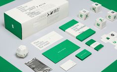 Above & Below men's skincare identity and packaging by Butcher & Butcher / minimalist, black and white, typography, green box