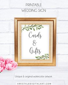 Cards and Gifts Rustic Wedding Signage, Cards and Gifts, with pure and unique watercolor botanical design for the lovers of the rustic and minimalist wedding style.This nice wedding signage is an instant download PRINTABLE PDF pack so you can download it right away and print it at home or at your local copy shop by Amistyle Digital Art on Etsy