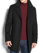 MICHAEL KORS $495 NEW Mens Black Solid 453 Cashmere Blend Over Coat Regular 44R