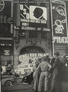 Times Square 1940s Soldiers Watch Billboards New York City Vintage |