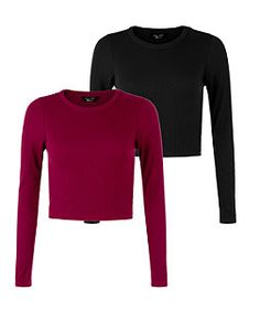 f3f8bd5203e Teens 2 Pack Black and Burgundy Long Sleeve Crop Tops