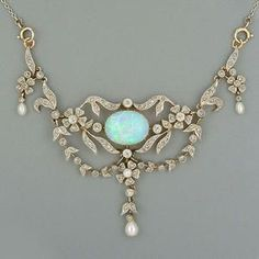 A late Victorian opal and diamond necklace,