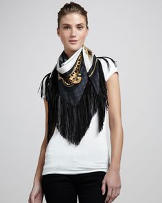 Calantia Leather-Fringe Silk Scarf by Gucci at Neiman Marcus.