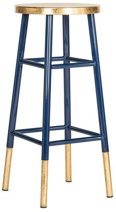 <p>A colorful addition to a kitchen island or family room bar, this timeless barstool is spruced up with a combination of navy blue lacquer and gold trim on leg caps and seat. This sturdy classic is crafted of iron with foot rest and cross bars for support.</p>
