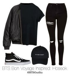BTS Bon Voyage Inspired: Hoseok by btsoutfits ❤ liked on Polyvore featuring Topshop and Vans