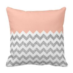 Coral and Silver Faux Glitter Chevron Pillows #pillows #pillow #home #decor #coral #peach #pastel #glitter #chevron