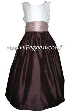 Dark Chocolate Brown and Antiqua Taupe Flower Girl Dresses by Pegeen.com Style 357