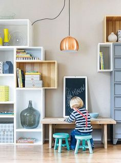 Inspiration: 7 practical ideas for a play corner - Kinderzimmer - Kids Style Play Corner, Kids Corner, Kids Workspace, Kids Bedroom, Bedroom Decor, Kids Study, Kid Desk, Study Areas, Kids Play Area