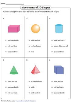 Choosing Correct Movements of 3D Shapes Solid Shapes, 3d Shapes, Printable Worksheets, Free Printables, Introduction To Geometry, Geometry Worksheets, Dimensional Shapes, Hands On Activities, Kids Learning