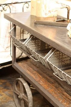 re-purposed industrial galvanized cart...big galvanized love - thank you @Lisa Elifritz!