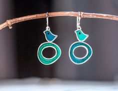 Bird nest earrings  silver  resin inlay  teal and by tamirodrig