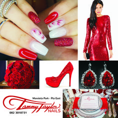 This is all Tammy Taylor Acrylic. Done by Tammy Taylor Nails SA Head Office. Using HollyJolly Dazzlerocks Acrylic Prizma, and True red Acrylic Prizma.  Style: Sculptured in Stiletto style Find a Premium salon near you on the Tammy Taylor SA App.  Www.tammytaylornails.co.za