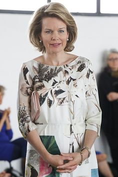 Belgium's Queen Mathilde visits the exhibition Work/Travail/Arbeid by Anne Teresa De Keersmaeker in collaboration with Rosas at the contemporary art center Wiels in Brussels on May 8, 2015.