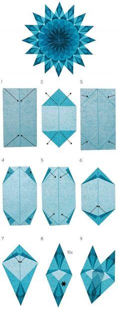 Window star made of tissue paper - Weihnachtsbasteln - Origami Diy Origami, Origami Paper Art, Useful Origami, Origami Stars, Origami Flowers, Origami Tutorial, 3d Paper, Tissue Paper, Paper Flowers