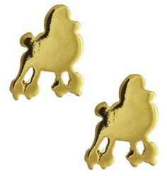 Gold poodles stud earrings