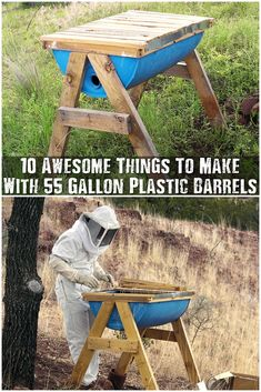 10 Awesome Things To Make With 55 Gallon Plastic Barrels - Check out these awesome, fun projects that turn regular boring 55 gallon drums into awe inspiring feats of your imagination. One of my favorites is the DIY beehive!