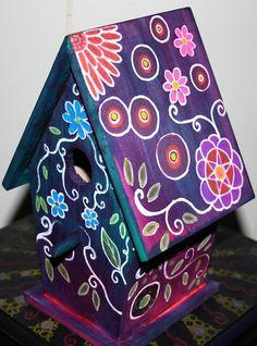 Purple floral Birdhouse!