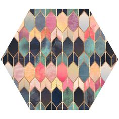 Colored Stained Glass Hex Wall Decal