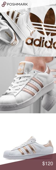 SOLD Adidas Rose Gold Superstars These rare beauties are brand new! Never worn Difficult to find online and sold out in store. Add a touch of feminine chic to any outfit. Great gift for yourself or someone else. ✨Shell toe. ✨Authentic. ✨Leather upper Adidas Shoes Sneakers
