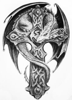 celtic cross with dragon