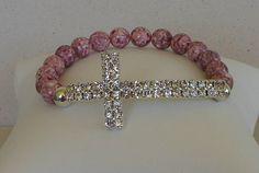 Sideways Cross Bracelet Pink Czech Cross by beadedblisscreations, $28.00