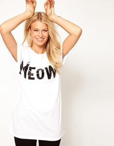 Imagen 1 de ASOS Camiseta con Meow Imprimir
