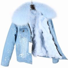 2017 New Parka Winter Women Coat With Large Raccoon Fur Collar Real Fox Fur Lining Jacket Top Quality Denim Jacket With Fur, Fur Collar Jacket, Sweater Jacket, Winter Coats Women, Coats For Women, Jackets For Women, Clothes For Women, Fur Fashion, Coats