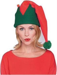 Red//Green ELF HAT With BELLS Christmas//Thanksgiving Fancy Dress Costume Hat