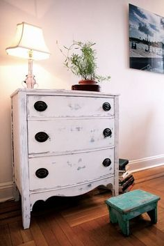 Whitewash is paint made with chalk, and it's used for making white washed furniture. If you find some vintage furniture and paint it with white wash White Washed Furniture, White Bedroom Furniture, Distressed Furniture, Vintage Furniture, Painted Furniture, Furniture Design, Bedroom Decor, Distressed Dresser, White Antique Dresser