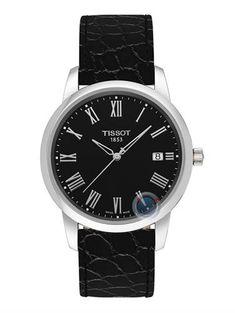 Tissot Classic Dream Men's Quartz Black Dial Silver Roman Watch with Black Leather Strap Tissot Mens Watch, Leather Men, Black Leather, Le Locle, Black Quartz, Hand Shapes, Quartz Watch, Omega Watch, Watches For Men