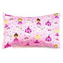 2 Pink Princess Toddler Pillowcases, 100% Cotton, Size 18x13, Envelope Style Closure, Set Of 2