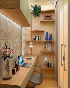 Tiny Home Office, Home Office Closet, Small Home Offices, Home Office Setup, Home Office Space, Small Apartments, Office Nook, Office Ideas, Home Room Design