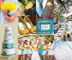 So much inspiration for my wedding:  1. Yellow bouquets (except my brooch bouquet, of course)  2. I am so wearing yellow shoes  3. Super classy cake  4. Fascinator! And with a yellow flower? Perfect  5. Gray suits/tuxes, whatever. They are happening. Teal tie and yellow boutonniere is also perfect.