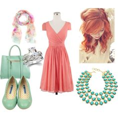 havana, created by samshe on Polyvore love the combination of coral and mint!