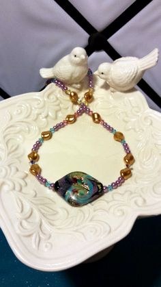 "Lavender Dreams Lampwork Beaded 18"" Necklace"
