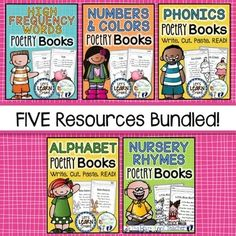 Poetry Books Bundle, Phonics, Sight Words, Nursery Rhymes, Fill in the Blanks