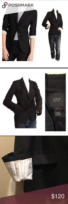J. Crew Super 120's blazer Black blazer with pinstripe Full lining. Flap pocket, single back bent, buttoned cuffs J. Crew Jackets & Coats Blazers
