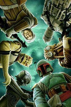 Star Wars: The Empire Strikes Back - Bounty Hunters: clockwise top, IG -88, ZUCKUSS, BOBA FETT, 4-LOM, BOSSK, DENGAR