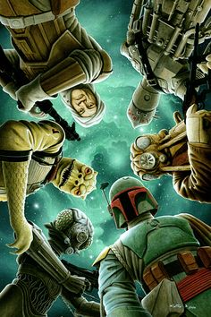 Star Wars: The Empire Strikes Back - Bounty Hunters: clockwise top, IG -88, ZUCKUSS, BOBA FETT, 4-LOM, BOSSK, DENGAR